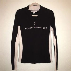TOMMY HILFIGER Sz L Navy & Cream Zip Neck Sweater